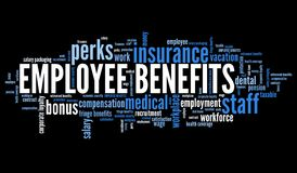 Employment benefits. Employee benefits - company employment perks. Corporate loyalty word cloud royalty free illustration