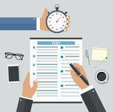 Employment on competitive basis. Filling resume writing tests concept royalty free illustration
