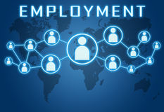 Employment. Concept on blue background with world map and social icons vector illustration