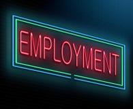 Employment concept. Illustration depicting an illuminated neon sign with an employment concept stock illustration