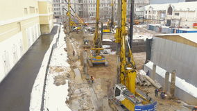 Employment of construction equipment. Drilling of wells for the pillars. Timelapse. stock video