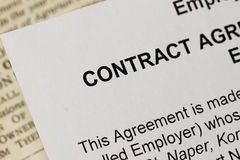 Employment Contract. Macro Closeup of an employment Contract Royalty Free Stock Photo