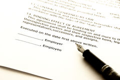 Employment contract stock image