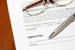 Employment contract. Form ready to sign concept Stock Photo