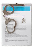 Employment contract chained handcuffs Stock Photo