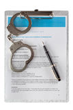 Employment contract chained handcuffs Royalty Free Stock Photography