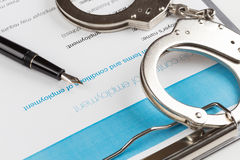 Employment contract chained handcuffs Stock Photos