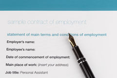 Employment contract. With fountain pen Stock Images