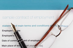 Employment contract with fountain Stock Photo
