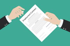Employment contract paper document stock illustration