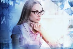 Employment and economy concept. Portrait of attractive european woman on bright city background. Employment and economy concept. Double exposure Royalty Free Stock Photos