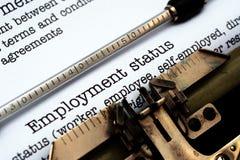 Employment form on typewriter Stock Photos