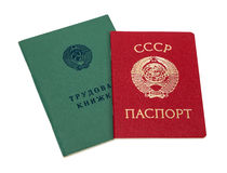 Employment history book and soviet passport. Isolated on white background Royalty Free Stock Photo