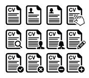 CV - Curriculum vitae, resume  icons set Stock Images