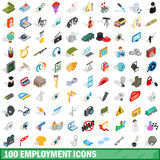 100 employment icons set, isometric 3d style Stock Images