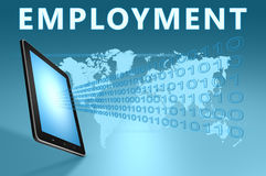 Employment. Illustration with tablet computer on blue background vector illustration