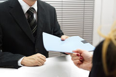 Employment Interview With Female Applicant Handing Over A File C Stock Images