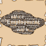 Employment. And job related words burned on paper Royalty Free Stock Photos