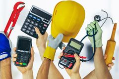 Employment job search - group of various profession workers with tools. In hands stock image