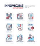 Employment- modern vector line icons set. Employment - modern color vector single line icons set. Recruiting, job opening, approved candidate, signing contract royalty free illustration