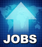 Employment and new jobs. Symbol represented by text and a upward pointing arrow showing the rising work force and adding of employment due to the improving good Royalty Free Stock Photography