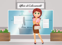 Employment office. Illustration of woman in employment office royalty free illustration
