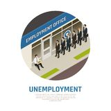 Employment Office Isometric Composition. Jobless persons in queue to employment office and sitting man needing work isometric composition vector illustration vector illustration