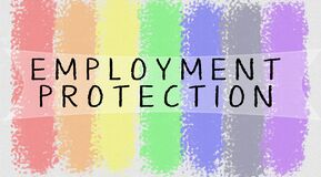 Free Employment Protection Text Blended With On Gay Or LGBTQ Pride Colours. Royalty Free Stock Images - 187106659