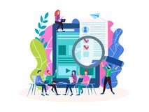 Employment, questioning, interview, online form filling, employment. Vector illustration for social media, banners, posters stock illustration