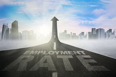 Employment rate text on the road Royalty Free Stock Photography