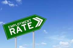 Employment rate text and upward arrow. Picture of green signpost with employment rate text and upward arrow under blue sky Stock Photography