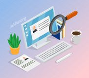 Employment Recruitment Isometric Background. Employment and recruitment resume search for hiring right job candidate isometric composition with magnifying glass stock illustration