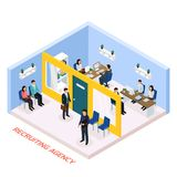 Employment Recruitment Isometric Composition. Recruitment agency for permanent job part time work seekers isometric composition with staff interviewing Stock Images