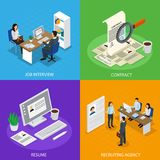 Employment Recruitment Isometric Concept Stock Images