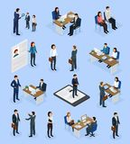 Employment Recruitment Isometric Icons. Employment isometric icons set with recruitment agency job seeker interview resume selection hiring manager isolated stock illustration