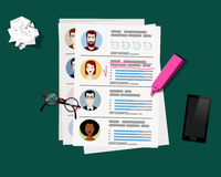 Employment recruitment. Selecting staff. CV application. Stock Photos