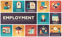 Employment - set of flat design infographics elements. Recruiting, approved candidate, salary, singing contracts, career growth, schedule, best proposal Royalty Free Stock Photos