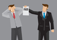 Employment Termination Vector Cartoon Illustration. Cartoon businessman hands a termination notice saying You are Fired to his employee. Vector illustration on Royalty Free Stock Images