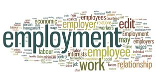Employment Word Cloud. Collection of employment related words for design projects vector illustration