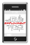Employment Word Cloud Concept on Touchscreen Phone. Employment Word Cloud Concept of Touchscreen Phone with great terms such as boss, wage, hr and more Royalty Free Stock Image