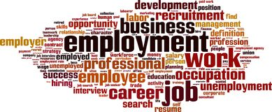 Employment word cloud. Concept. Vector illustration vector illustration