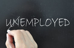 Employment. The word unemployed crossed out to reveal employed Stock Photography