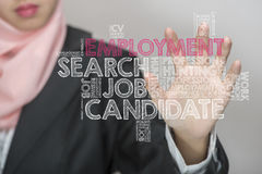 Employment wordcloud. Muslim girl touch screen concept with Employment wordcloud Royalty Free Stock Photo