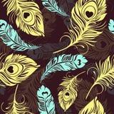 Empluma el modelo inconsútil Pájaro abstracto decorativo multicolor Foto de archivo