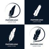 Emplume, pluma elegante, bufete de abogados, abogado, logotipos literarios del vector del escritor fijados Imagenes de archivo