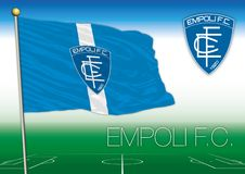 Empoli 1920 footbal club flag and coat of arms, vector illustration, editorial Stock Photo