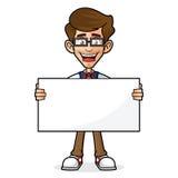 Empollón Guy Holding Blank Sign ilustración del vector