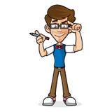 Empollón Guy Holding Glasses ilustración del vector