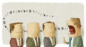 Empolyees southing do chefe irritado Fotografia de Stock