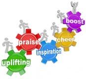 Emporhebende Wort-Team Climbing Gears Praise Cheer-Inspiration Stockfoto
